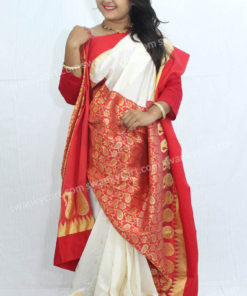 Garod Saree White and Red Combination Patlipallu