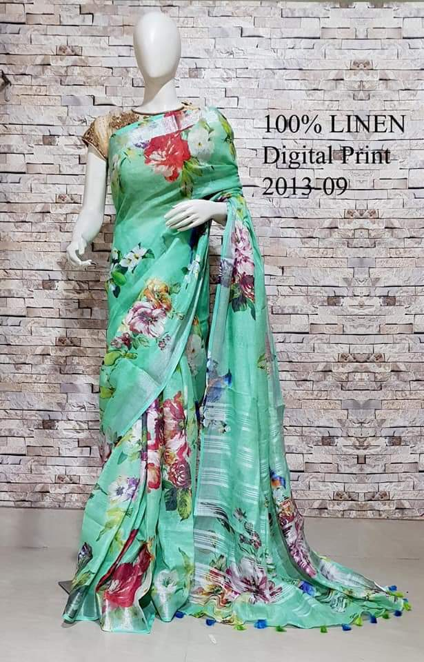 Green Handloom Digital Printed Pure Linen Sarees