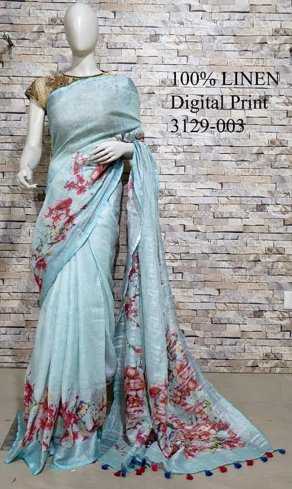 Handloom Digital Printed Pure Linen Sarees