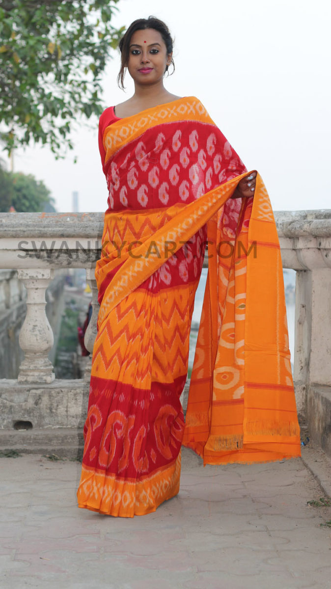846c34494d5 Pochampally handloom Ikkat Cotton Saree IPMZ (13)